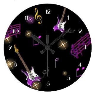 Rock Star Music Background Wall Clock