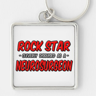 Rock Star ... Neurosurgeon Silver-Colored Square Keychain