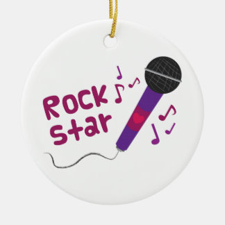 Rock Star Double-Sided Ceramic Round Christmas Ornament
