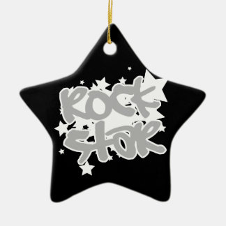 Rock Star Double-Sided Star Ceramic Christmas Ornament