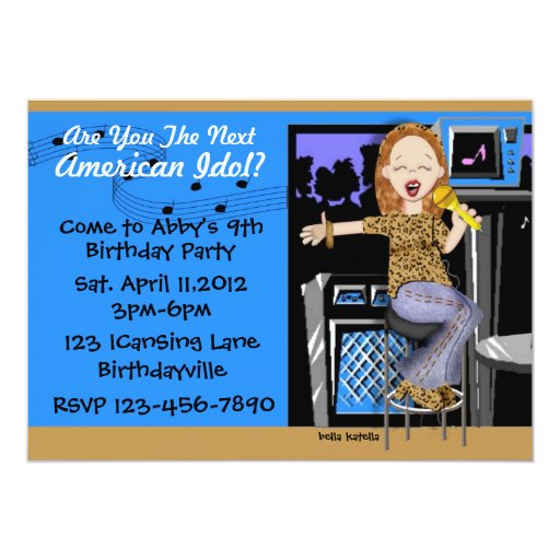 """Rock Star Party for Girls 5"""" X 7"""" Invitation Card"""