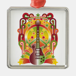 Rock Star Peace Square Metal Christmas Ornament
