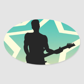 Rock Star Performing with Guitar on Abstract Oval Sticker