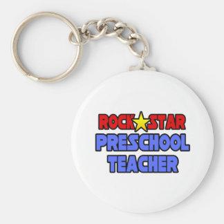 Rock Star Preschool Teacher Keychain