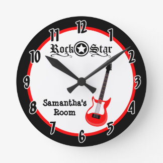 Rock Star Red Guitar Personalized Clock