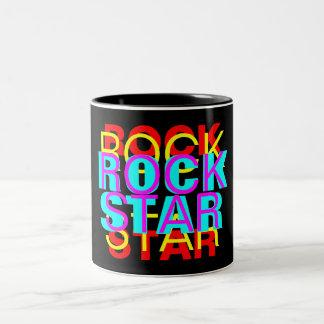 ROCK, STAR, ROCK, STAR, ROCK, STAR, ROCK, STAR Two-Tone COFFEE MUG