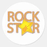Rock Star Round Stickers