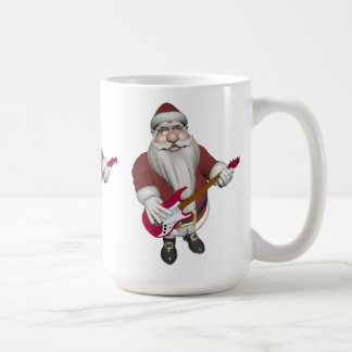 Rock Star Santa With Red Electric Guitar Coffee Mug