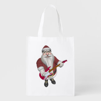 Rock Star Santa With Red Electric Guitar Grocery Bag