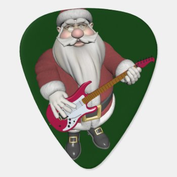 Rock Star Santa With Red Electric Guitar Guitar Pick by Emangl3D at Zazzle