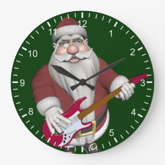 Rock Star Santa With Red Electric Guitar Large Clock