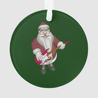 Rock Star Santa With Red Electric Guitar Ornament