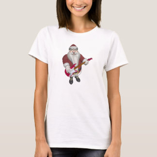 Rock Star Santa With Red Electric Guitar T-Shirt