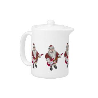 Rock Star Santa With Red Electric Guitar Teapot