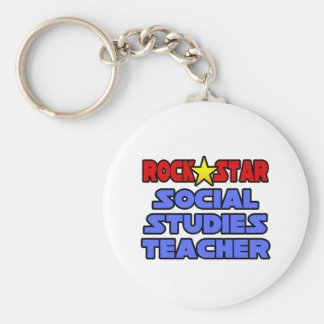 Rock Star Social Studies Teacher Keychain