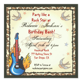 Rock Star Tattoo Invitation