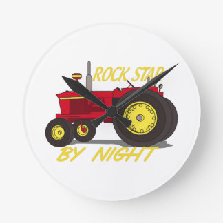 Rock Star Tractor Round Clock