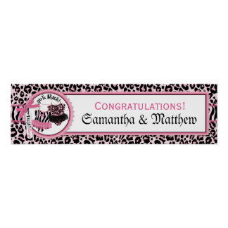 Rock Star Tutu Baby Shower Banner for Twin Girls Poster