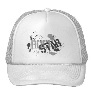 Rock Star White Mesh Truckers Cap Paint Splatter Trucker Hat