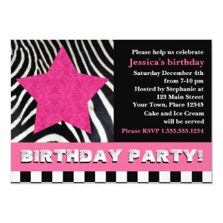 Rock Star Zebra Birthday Party - Pink 5x7 Paper Invitation Card