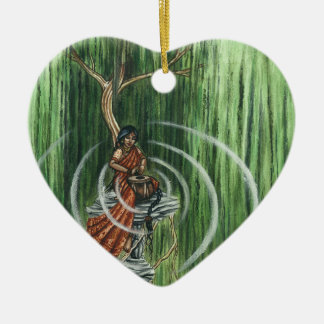 Rock Steady Beat Double-Sided Heart Ceramic Christmas Ornament