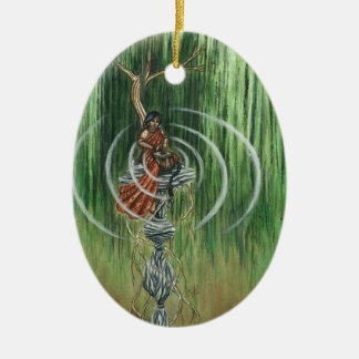 Rock Steady Beat Double-Sided Oval Ceramic Christmas Ornament