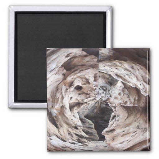Rock swirl grey brown kaleidoscope design image 2 inch square magnet