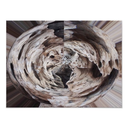 Rock swirl grey brown kaleidoscope design image poster