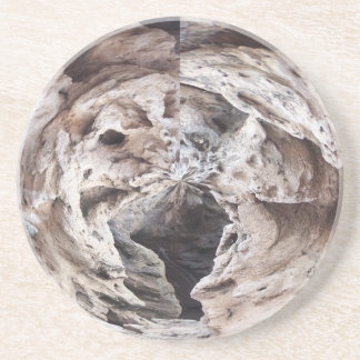 Rock swirl grey brown kaleidoscope design image sandstone coaster