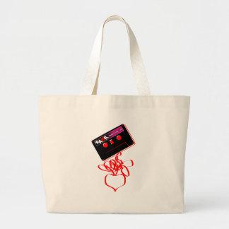 Rock Tape Love - Emo Music Cassette Rock Heart Large Tote Bag