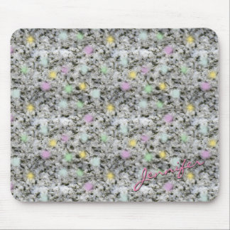 Rock Texture White Granite with Pastel Dots Name Mouse Pad