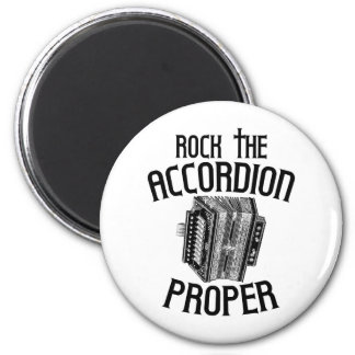 Rock the Accordion Proper 2 Inch Round Magnet
