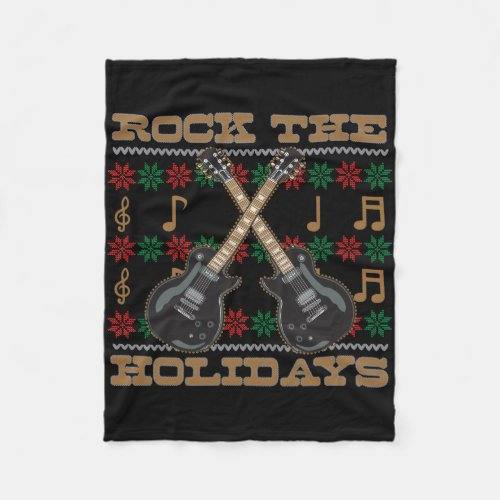 Rock The Holidays Guitar Ugly Christmas Sweater Fleece Blanket