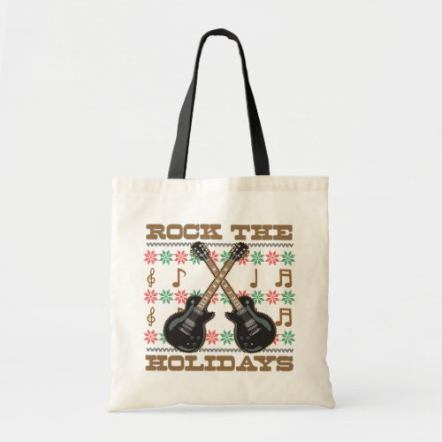 Rock The Holidays Guitar Ugly Christmas Sweater Tote Bag
