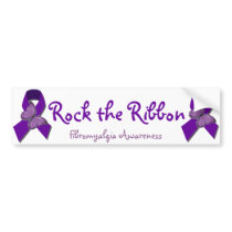 Rock the Ribbon Fibromyalgia Support Bumper Sticker