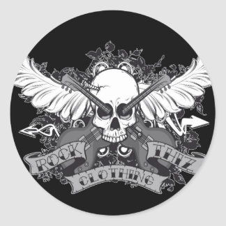Rock Thiz Clothing Skull & Wings Stickers