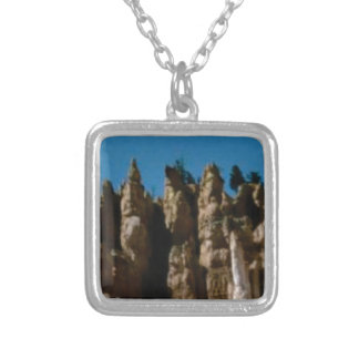 rock towers and pillars silver plated necklace