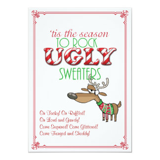 Rock Ugly Sweaters Holiday Party Invitation Invitation