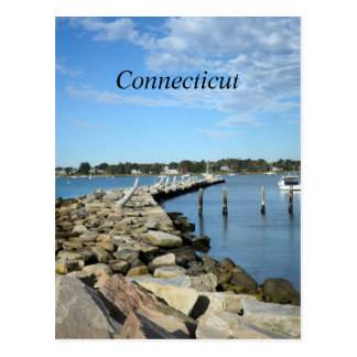 rock wall by a harbor in Connecticut Postcard