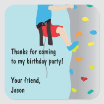 Rock Wall Climbing Birthday Party Favor Square Sticker