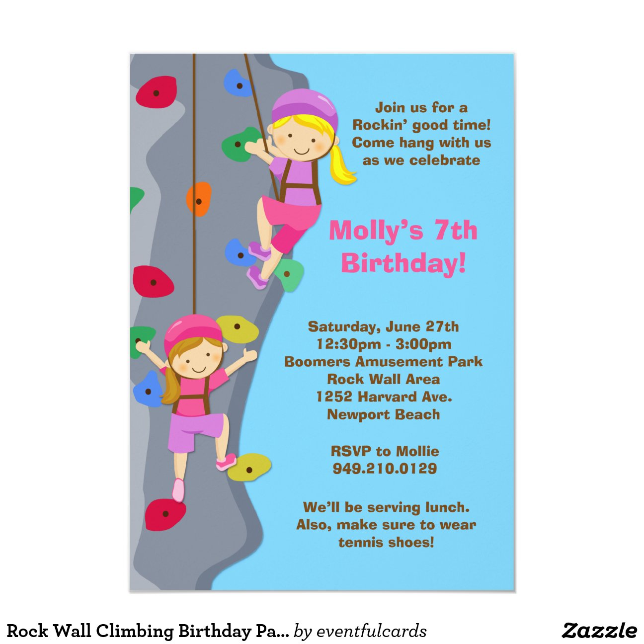 rock_wall_climbing_birthday_party_invitation ...