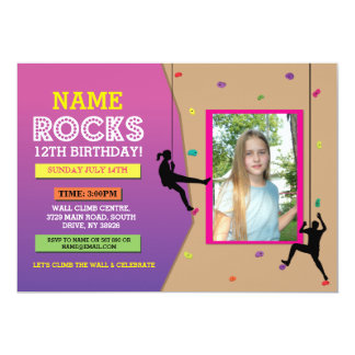 Rock Wall Climbing Birthday Party Photo Invite