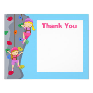 Rock Wall Climbing Party Thank You Card Invites