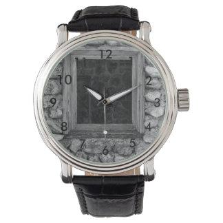 Rock Wall Window Grayscale Wrist Watch