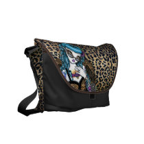 rockabilly, leopard, tiger, angel, tattoo, vintage, animal, print, fairy, faery, fantasy, classy, 50's, tote, handbag, mykajelina, Rickshaw messenger bag with custom graphic design
