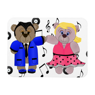 Rockabilly Boy and Girl Teddy Bear Couple Magnet