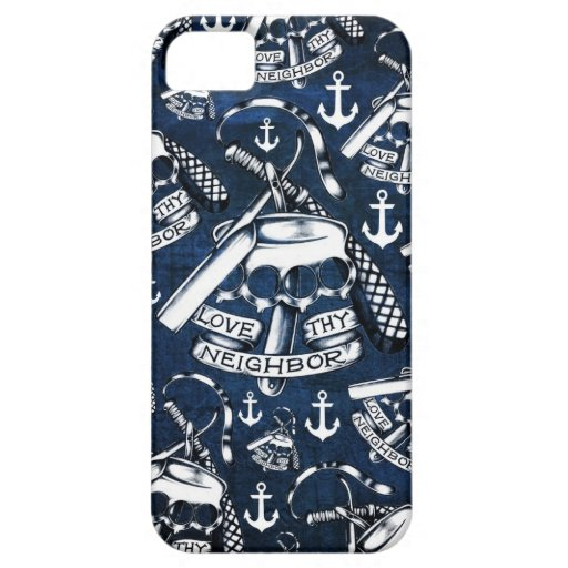 Rockabilly brass knuckles and anchors in navy iPhone 5 cases