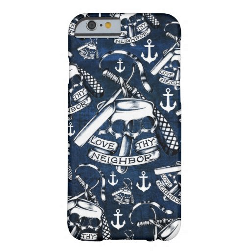 Rockabilly brass knuckles and anchors in navy iPhone 6 case