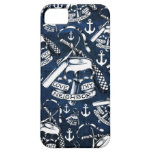 Rockabilly brass knuckles and anchors in navy iPhone SE/5/5s case
