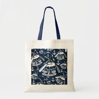 Rockabilly brass knuckles and anchors in navy tote bag